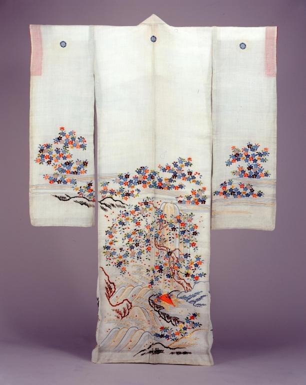 作品画像:薄浅葱麻地枝垂桜流水檜扇模様帷子