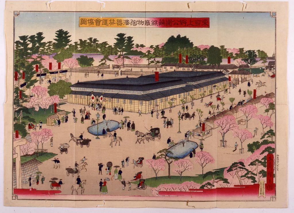 作品画像:東京上野公園繭糸織物陶漆器共進会場図