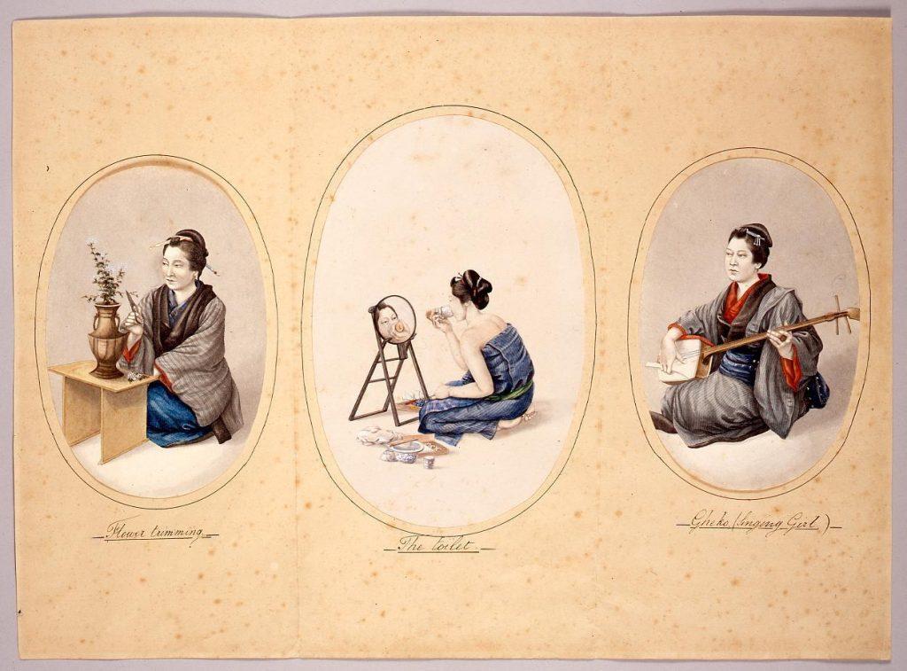 日本人風俗絵 芸妓・化粧する女・生花する女