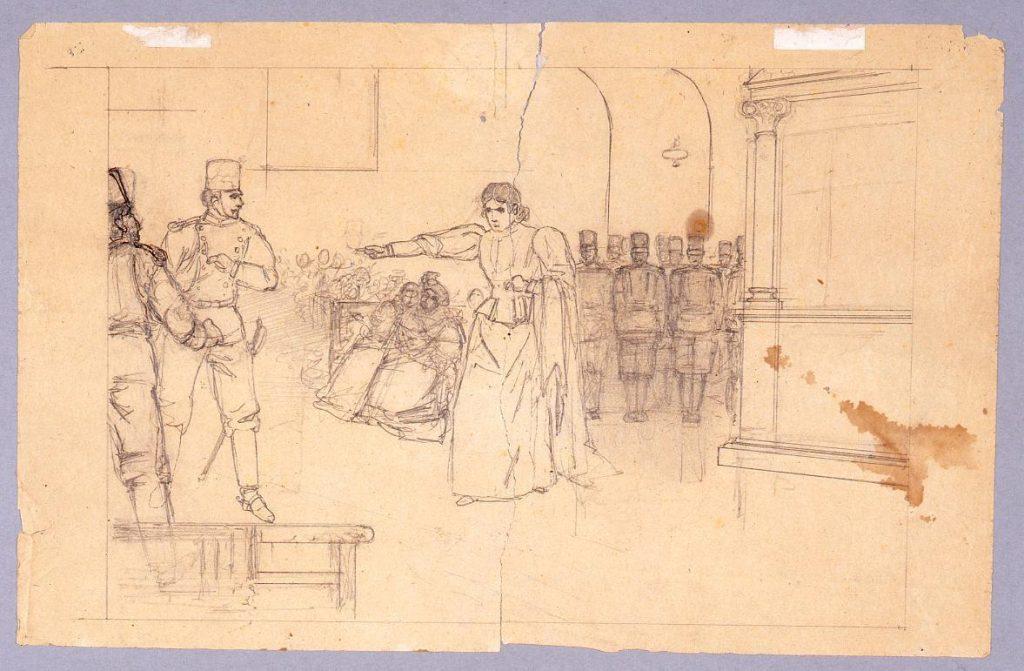 下絵 挿絵 兵士と女/男性肖像