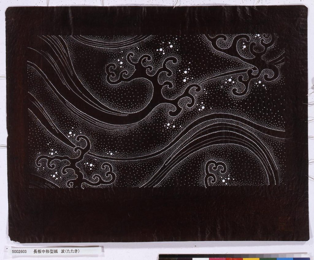 作品画像:長板中形型紙 波(たたき)