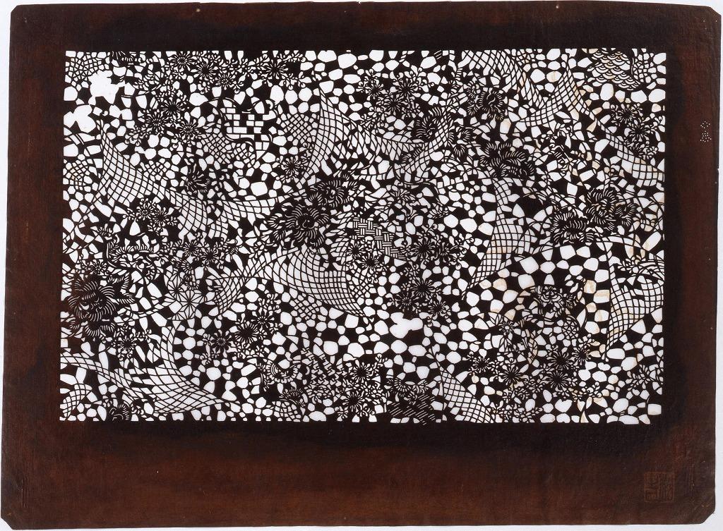 作品画像:長板中形型紙 網に千鳥(小判 追掛)