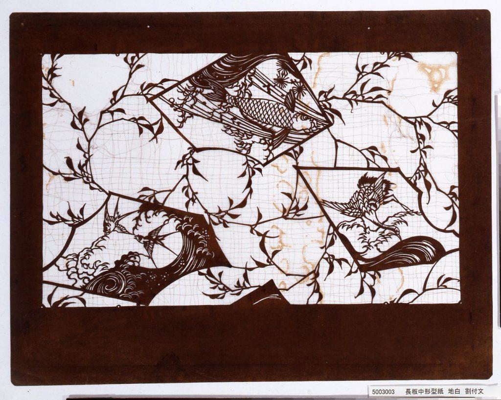 作品画像:長板中形型紙 地白 割付文