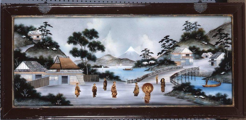 作品画像:ガラス絵 富士山風景図