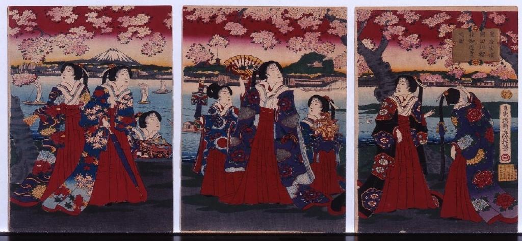 作品画像:縮緬絵 皇后宮様隅田川桜花御遊覧之図