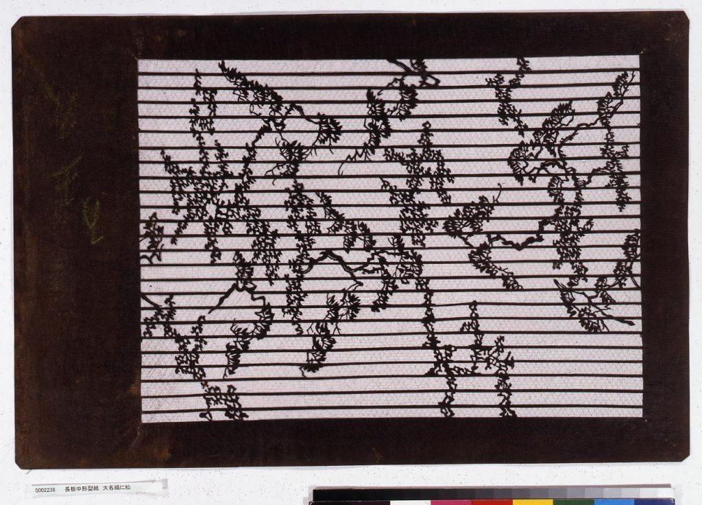 作品画像:長板中形型紙 大名縞に松