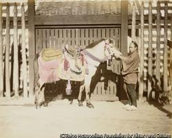 作品画像:(馬と男性)
