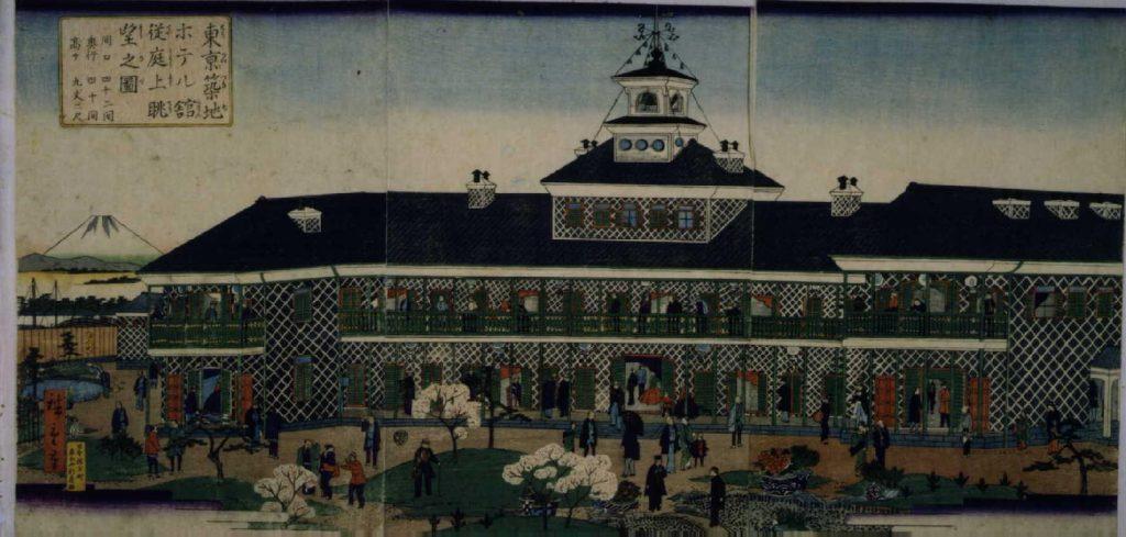 作品画像:東亰築地ホテル館従庭上眺望之図