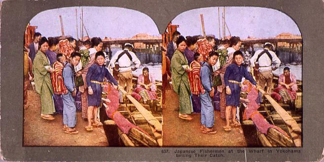 作品画像:Japanese FishermenAt the Wharf in Yokohama Seiling Their Catch.637