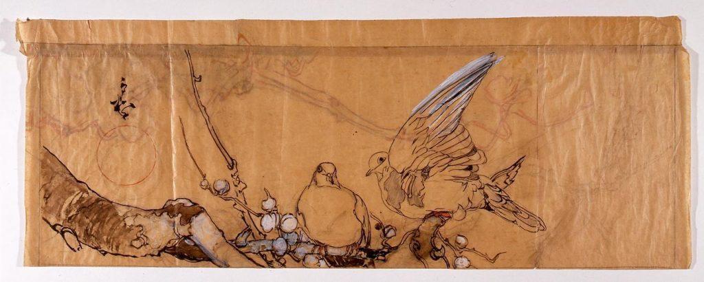 作品画像:下絵 花鳥(梅に鳩)