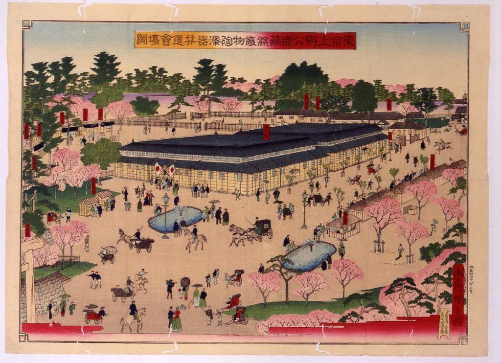 作品画像:東京上野公園繭絲織物陶漆器共進会場図
