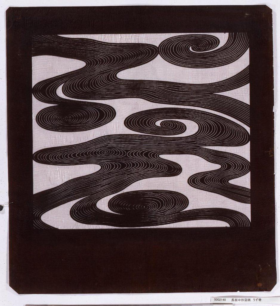 作品画像:長板中形型紙 うず巻