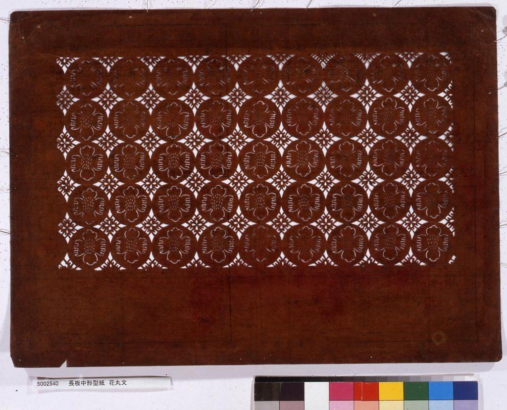 長板中形型紙 花丸文
