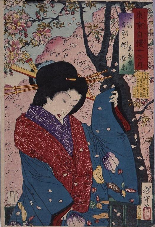 作品画像:東京自慢十二ヶ月 三月 吉原の桜