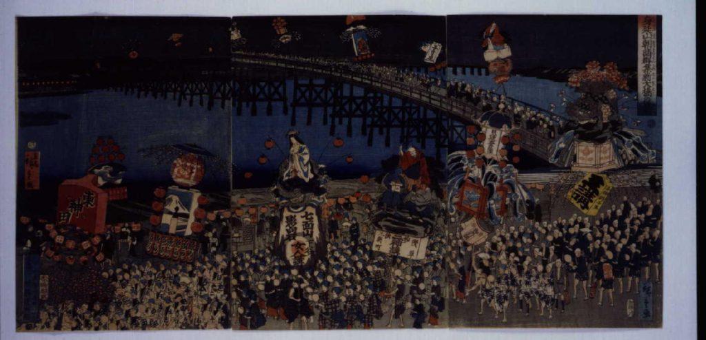 作品画像:身延山朝詣群集新大橋の景