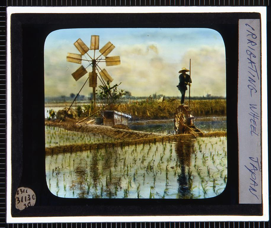 作品画像:農作業 踏車(幻燈原板)