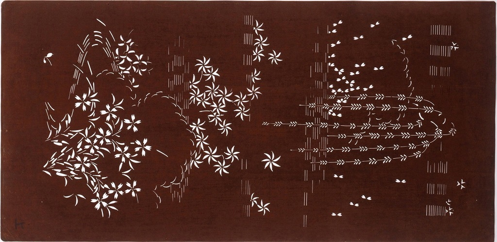 作品画像:長板中形型紙 秋草に霞(大判 追掛)