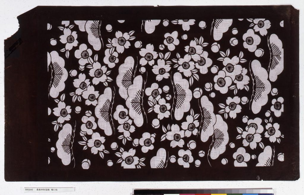 作品画像:長板中形型紙 梅に松