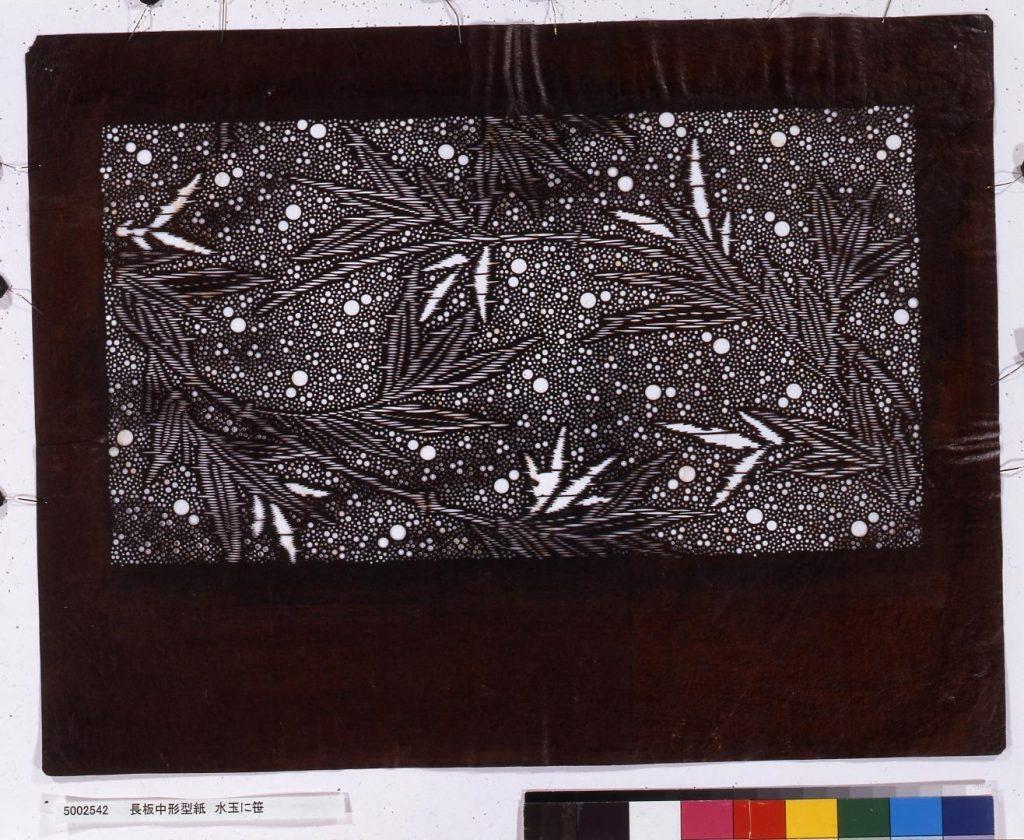 作品画像:長板中形型紙 水玉に笹
