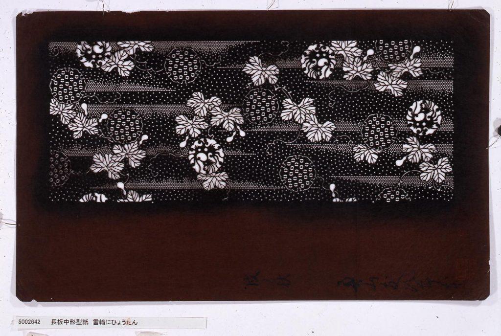 作品画像:長板中形型紙 雪輪にひょうたん
