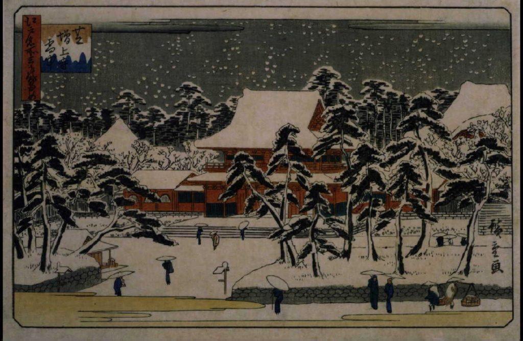 作品画像:江戸名所三つのなかめ 芝増上寺雪中