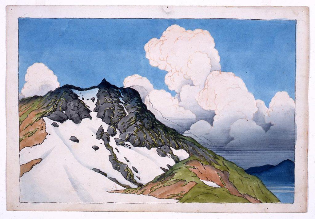 作品画像:旅みやげ第三集 白馬山より見たる朝日嶽 原画