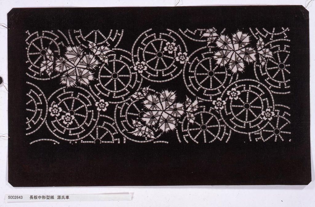 作品画像:長板中形型紙 源氏車