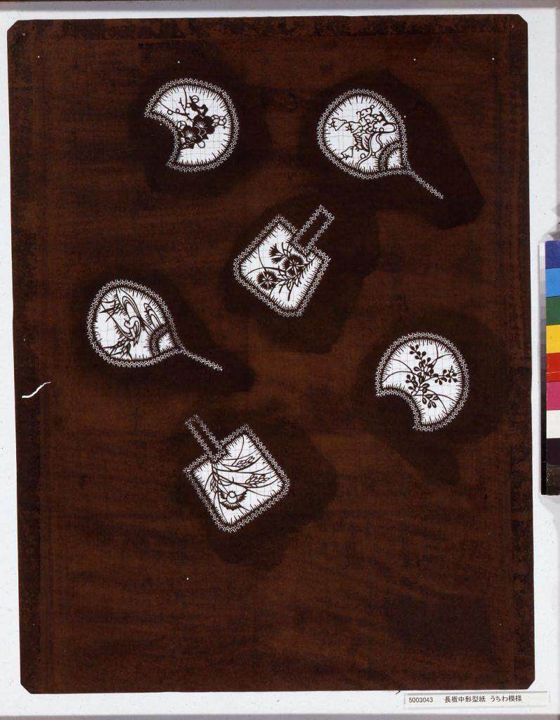 作品画像:長板中形型紙 うちわ模様