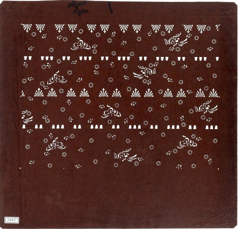 作品画像:長板中形型紙 菖蒲革文