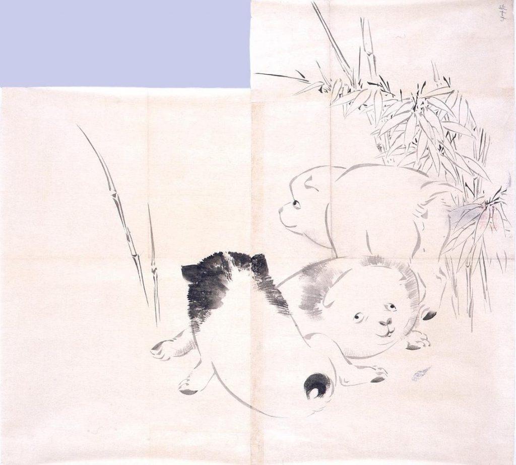 作品画像:粉本 笹に三狗