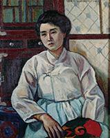 作品画像:団扇を持てる女