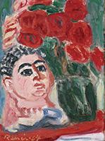 作品画像:花と胸像