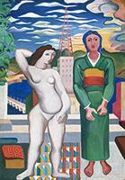 作品画像:丘の上の二人の女