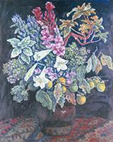 作品画像:枝柿と花の静物