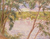 湖畔の朝晴