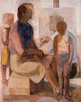 作品画像:画家と家族