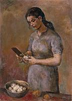 作品画像:馬鈴薯の皮をむく女