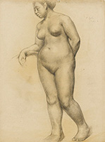 作品画像:もたれて立つ裸婦
