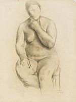 作品画像:あごに手をやる裸婦