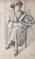 作品画像:バラの花を持つ女
