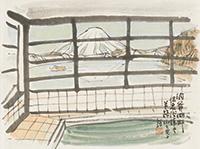 作品画像:洞爺湖畔温泉浴場より羊蹄山を見る