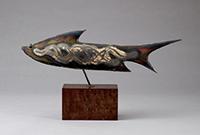 作品画像:彫金黒金象嵌魚置物