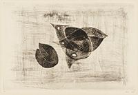 作品画像:飛んでいる鳥と木の葉