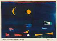 作品画像:Paysage avec des drapeaux et la lune(旗と月のある風景)