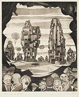 作品画像:[洞窟のむこうに見える都市、人々]