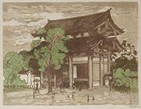 作品画像:四天王寺東門(雨景)[『大阪風景』より]