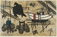 作品画像:漁夫と烏と白い船