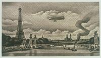 作品画像:アレキサンドル三世橋とフランス飛行船