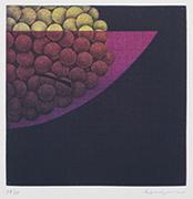 作品画像:ぶどう[『Hamaguchi's six original color mezzotints(6つのカラーメゾチント)』より]
