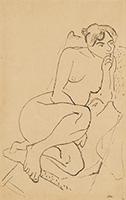 作品画像:椅子にすわり物思う裸婦